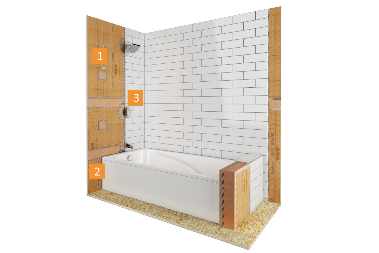 Bathtub surround with KERDI-BOARD