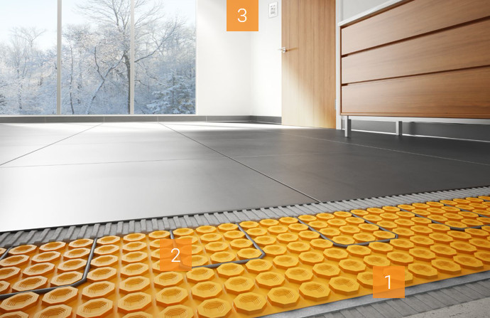 DITRA-HEAT-DUO with a concrete substrate